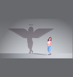 Cute girl with shadow angel imagination vector
