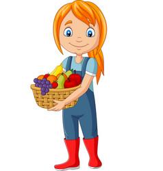 Cute happy girl harvest fruit vector