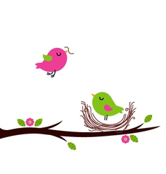 Cute spring nesting birds isolated on white vector image