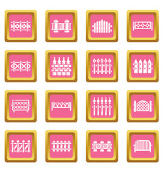 different fencing icons set pink square vector image