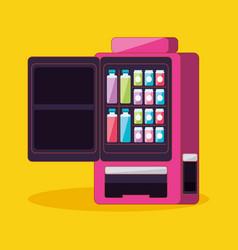 Dispenser of beverage with open door machine vector