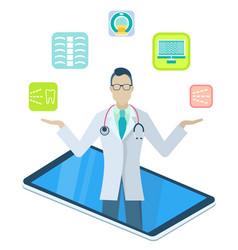 Doctor in medical app on phone online medicine vector