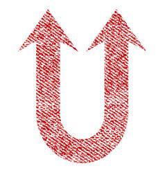 Double forward arrow fabric textured icon vector