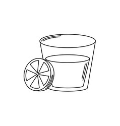 drinks glass cup and slice lemon cocktail line vector image