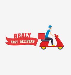 fast delivery with man courier vector image