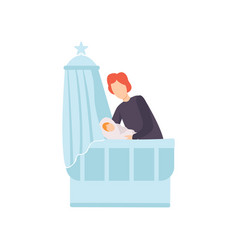 Father putting his newborn bato bed parent vector