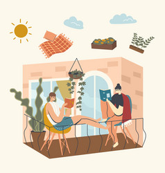 Female characters sitting on house balcony reading vector
