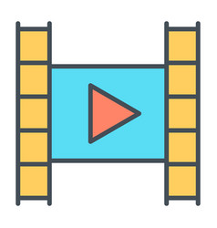 film strip with play button line iconvideo symbol vector image