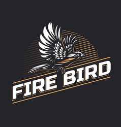 Fire bird silhouette logo template on black vector