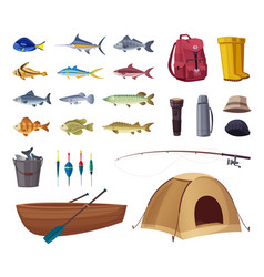 fishing equipment set icons vector image