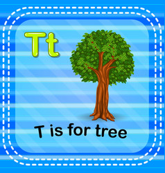 flashcard letter t is for tree vector image