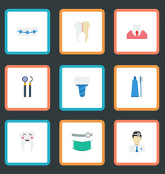 Flat icons enamel treatment orthodontist and vector