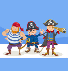 funny pirate characters cartoon vector image
