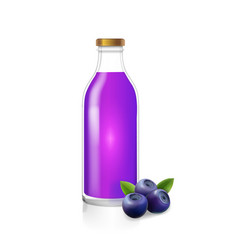 Glass bottle of blueberry juice berry drink vector
