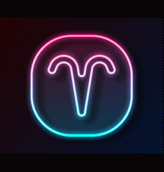 Glowing neon line aries zodiac sign icon isolated vector