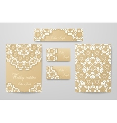 Gold wedding identity template design collection vector
