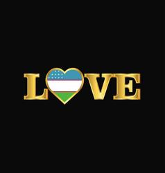 Golden love typography uzbekistan flag design vector