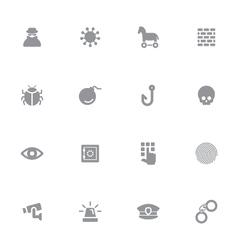 Gray simple flat icon set 7 vector