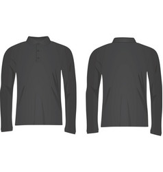 Grey polo t shirt long sleeve vector