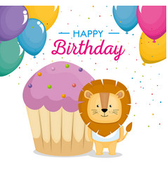 Happy birthday card with cupcake and cute lion vector