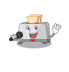 Happy bread toaster singing on a microphone vector