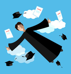 happy graduate student in sky flying graduate vector image