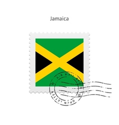Jamaica Flag Postage Stamp vector image