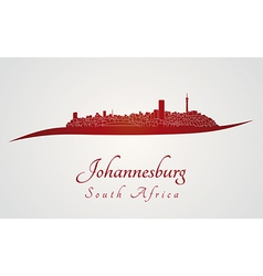 Johannesburg skyline in red vector