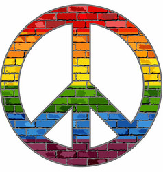 Lgbt peace symbol in a brick texture vector