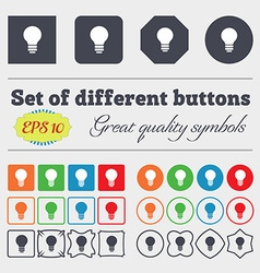 Light lamp Idea icon sign Big set of colorful vector image