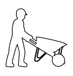 Line pictograph laborer with wheelbarrow equipment vector