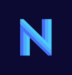logo letter n blue glowing vector image