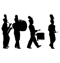 Marching band playing instruments silhouettes vector