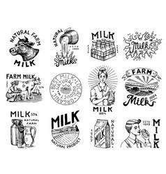 milk set cow and woman farmer milkmaid and jug vector image