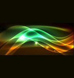 neon shiny light glowing wave lines vector image