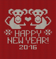 New Year Knitted Pattern Card with Monkey vector image