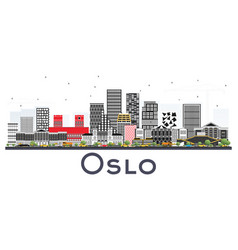 Oslo norway skyline with gray buildings isolated vector