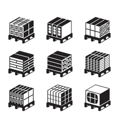Pallets with bricks and concrete blocks vector