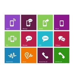 Phone icons on color background vector image