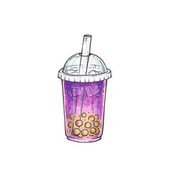 purple bubble tea with yellow pearls in plastic vector image