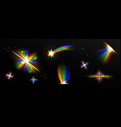 rainbow crystal light prism flare reflection lens vector image