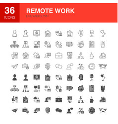 remote work line web glyph icons vector image