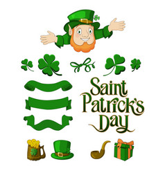 saint patricks day designer cartoon elements set vector image