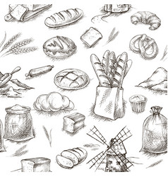 seamless bread bakery background vector image