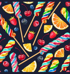Seamless pattern with striped lollipops vector