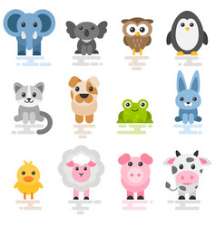 set cute cartoon animals flat style icons vector image