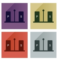 Set flat icons with long shadow pepper and vector