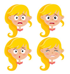 set of blonde girl scared face expression isolated vector image