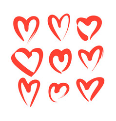 set of red hand drawn heart vector image