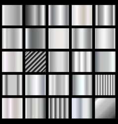 Set of silver gradients metallic squares vector